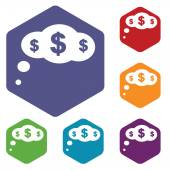 Dollar cloud rhombus icons — Stock Vector