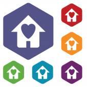 Love house rhombus icons — Stockvektor