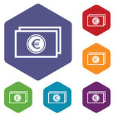 Euro buck rhombus icons — Stock Vector