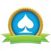 Gold spades card logo — Stock Vector