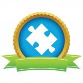 Gold puzzle logo — Stock Vector