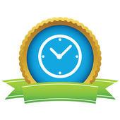 Gold clock logo — Stock Vector