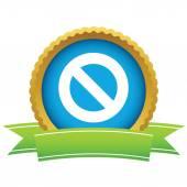 Gold sign ban logo — Stock Vector