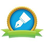 金ペンのロゴ — ストックベクタ