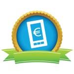Gold euro phone logo — Stock vektor #70740041