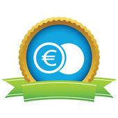 Gold euro coin logo — Vector de stock