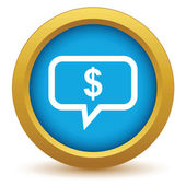 Gold thinks about money icon — Stock Vector