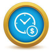 Gold clock money icon — Stock Vector