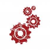 Red grunge mechanism logo — Cтоковый вектор