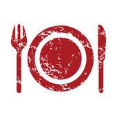 Red grunge dinner logo — ストックベクタ