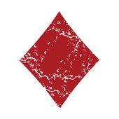 Red grunge diamonds card logo — Stock Vector