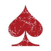 Red grunge spades card logo — Stock Vector