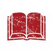 Red grunge book logo — Stock Vector