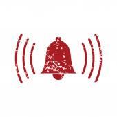 Red grunge alarm clock logo — Stockvector