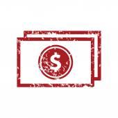 Red grunge money logo — Stok Vektör