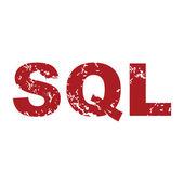 Red grunge sql logo — Stock Vector