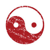 Red grunge Taoism logo — Stock Vector