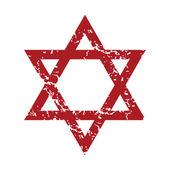 Red grunge Judaism logo — Vector de stock