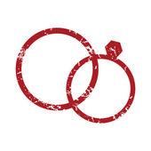 Red grunge wedding rings logo — Stock Vector