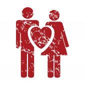 Red grunge love logo — ストックベクタ