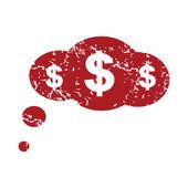 Red grunge dollar cloud logo — Stock Vector