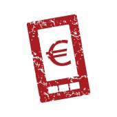 Red grunge euro phone logo — Stock Vector