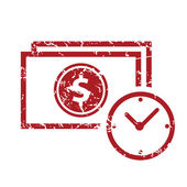 Red grunge buck time logo — Stock Vector
