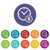 Jeu d'icônes de symbole horloge et dollar — Vecteur