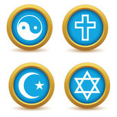 Religious symbols icon set — Stock Vector