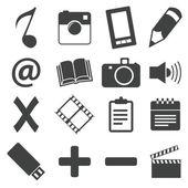 Simple black icon set 6 — Vector de stock