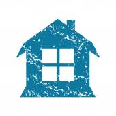 House with window grunge icon — Stock Vector