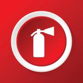 Fire extinguisher icon on red — Stock Vector