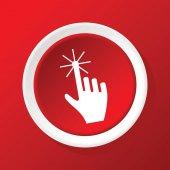 Hand cursor icon on red — Vetor de Stock