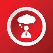 Düşünme kişi simgesi üzerinde kırmızı — Stok Vektör