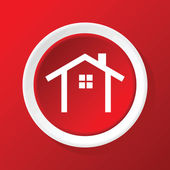 House contour icon on red — Stock Vector
