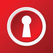 Keyhole icon on red — Stock Vector