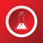 Conical flask icon on red — Stock Vector