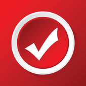 Tick mark icon on red — Stock Vector