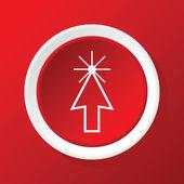 Arrow cursor icon on red — Stock Vector