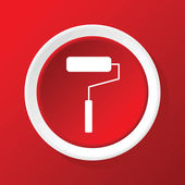 Paint roller icon on red — Stock Vector