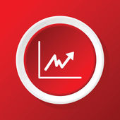 Rising graph icon on red — Vector de stock