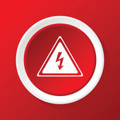 High voltage icon on red — Stock Vector