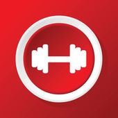 Barbell icon on red — Stock Vector