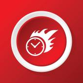 Burning clock icon on red — Stock Vector