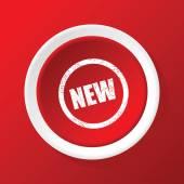 Новый значок на красном — Cтоковый вектор
