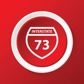 Interstate 73 icon on red — Stock Vector
