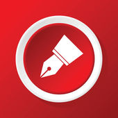 Pen nib icon on red — Stock Vector