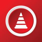 Traffic cone icon on red — Stock Vector