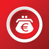 Euro purse icon on red — Vecteur