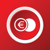 Euro coin icon on red — Stock Vector